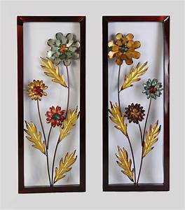 FRAMED YELLOW & BLUE METAL FLOWER WALL DECOR ACCENT FOR