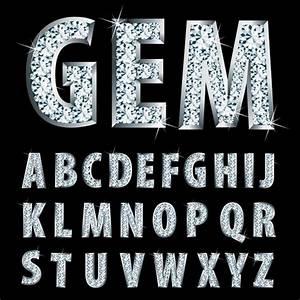 diamond shiny alphabet design vector vector font free With shiny diamond alphabet letters