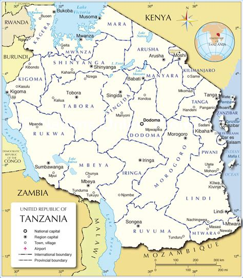 administrative map  tanzania nations  project