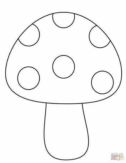 Mushroom Coloring Mushrooms Simple Colorare Printable Fungo