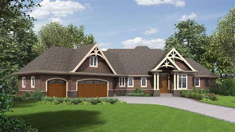 luxury craftsman ranch  walkout basement house plan