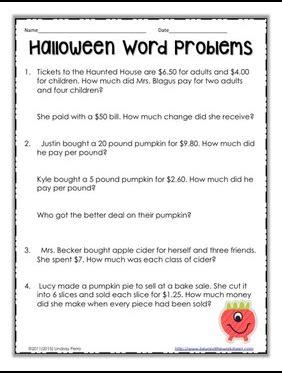 halloween word problems 5th grade the best of teacher entrepreneurs ii free math lesson