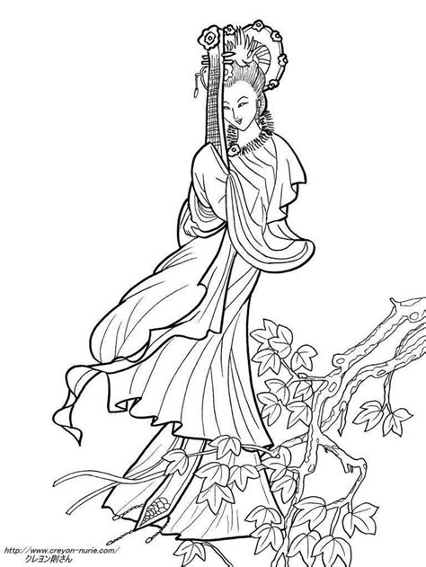 adult coloring pages asian images  pinterest