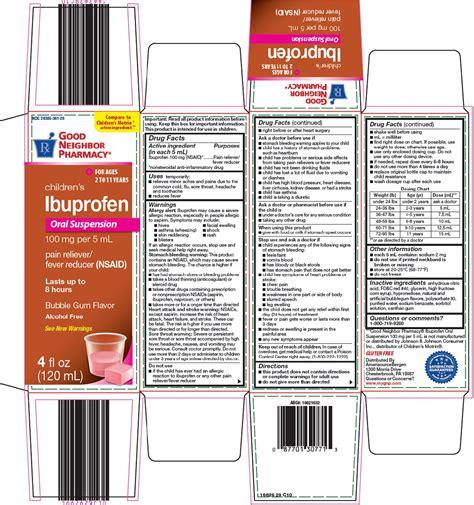 Dailymed Good Neighbor Pharmacy Childrens Ibuprofen