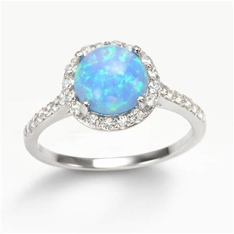 Opel Rings by Halo Blue Opal Ring Espere Jewelry