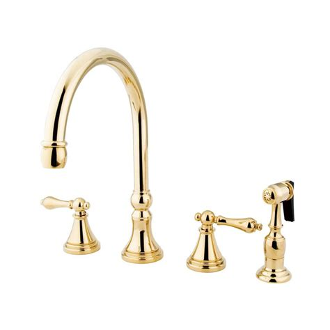 kitchen faucet design shop elements of design polished brass 2 handle high arc kitchen faucet at lowes com