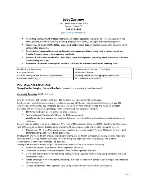 resume sle recruiter resume sle free recruiter