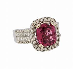 Ring Auction: Red Spinel and Diamond Ring – 14KT White ...