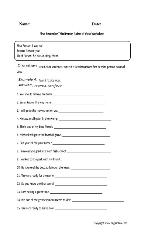 point  view worksheet  answer key