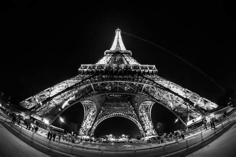 Free Images : light, black and white, night, eiffel tower ...