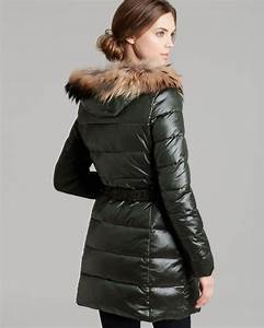 Ralph Coat Size Chart Bcbgmaxazria Down Coat Belted Fur Trim Hood In Green Lyst