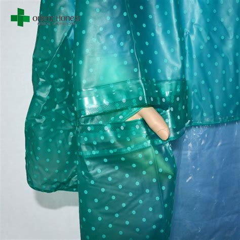 plastic raincoat ponchos supplier green rain coat poncho