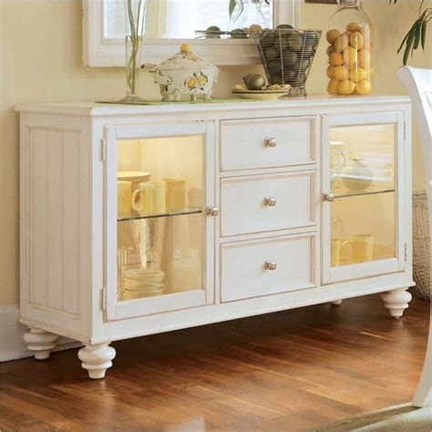 glass cabinets in kitchen american drew camden antique white china buffet credenza 3769