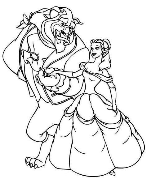 beast invite belle  dance coloring page