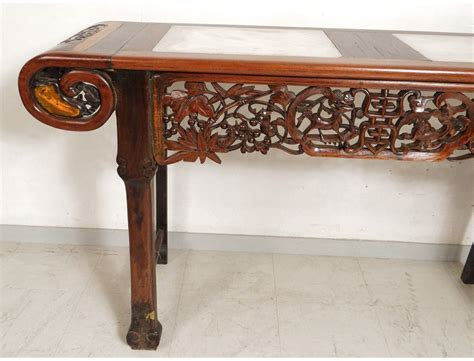 console table  exotic wood carved marble altar chinese