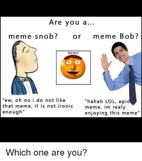 Ironic Memes - are you a meme snob or meme bob me me ew oh no i do not like hahah lol epi that meme it is not