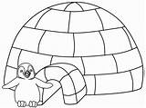 Coloring Winter Pages Sheets Igloo Colour sketch template