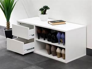 Banc Meuble Chaussure : meuble chaussures banc 2 niches 2 tiroirs longueur 89 5 arnold blanc ~ Teatrodelosmanantiales.com Idées de Décoration