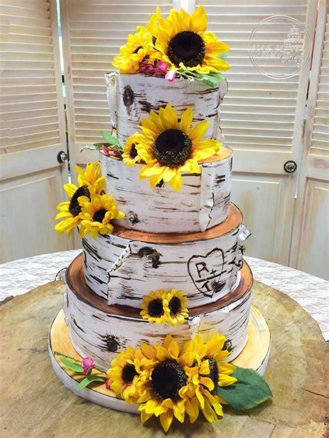 cakes birch bark wedding cake