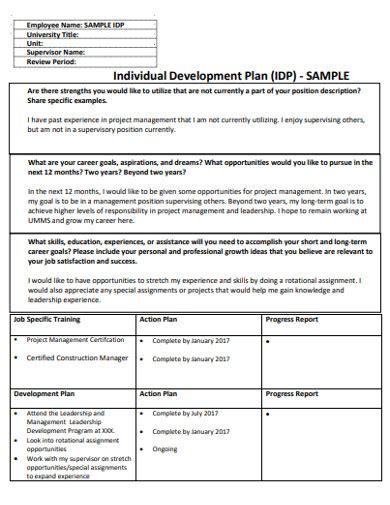 individual development plan examples samples
