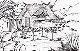 Coloring Forest Pages Cabin Bamboo Chinese Children Drawing Native Popular Coloringhome Paintingvalley sketch template