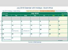 Print Friendly July 2018 South Africa Calendar for printing