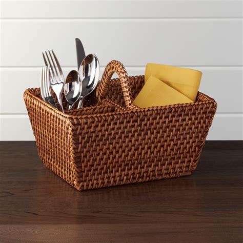 artesia honey rattan flatware caddy reviews crate