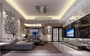 Latest ceiling designs living room rendering 3d house for Living room ceiling design images