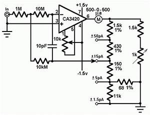 Picoammeter Circuit With 4 Ranges