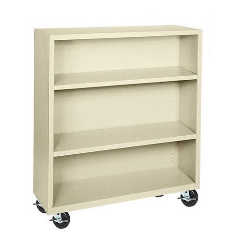 Steel Bookcases by Sandusky Elite Putty Mobile Steel Bookcase Bm20361842 07