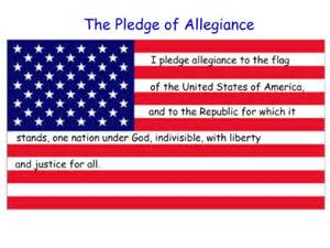 American Flag with Pledge of Allegiance