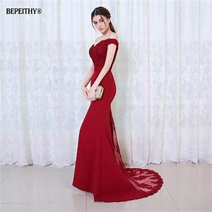 Bepeithy robe de soiree mermaid burgundry long evening for Robe de soir2e