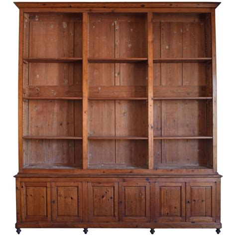 Large Bookcase In Chestnut, Open Shelves And Locking