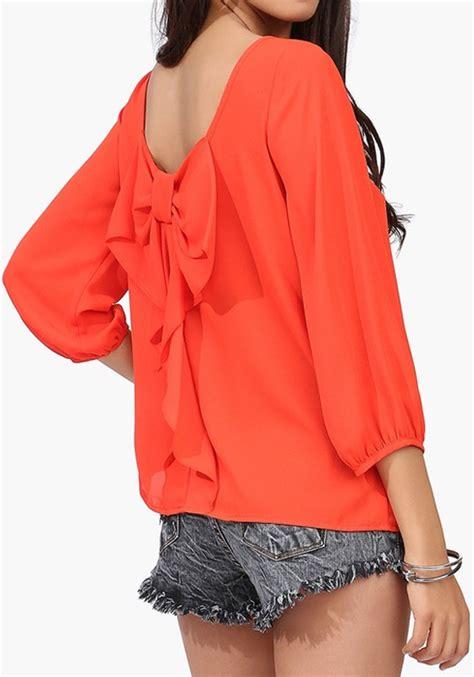 orange blouses orange plain bow sleeve chiffon blouse blouses tops