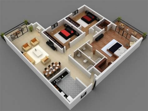 Amazing 25 More 3 Bedroom 3d Floor Plans House Plan