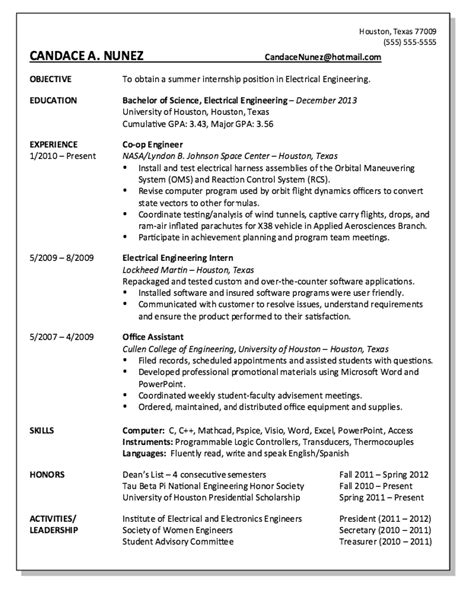 co op engineer resume exle resumes design