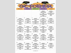 Another Great KidFriendly Menu for October with a Week of