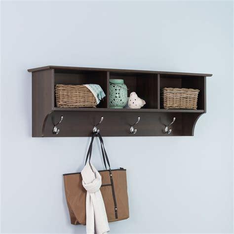 coat hooks with shelf shop prepac furniture espresso 8 hook wall mounted coat
