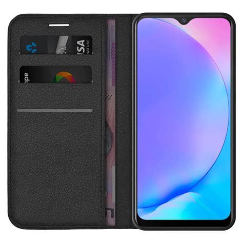 leather wallet case  vivo   black