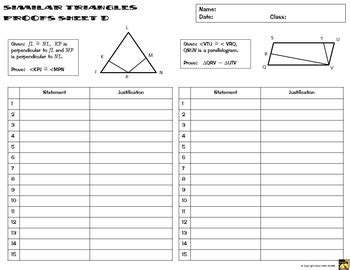 similar triangles proofs two column proof practice and quiz by math giraffe