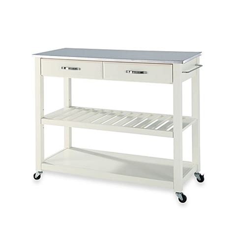 crosley stainless steel top rolling kitchen cartisland