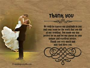 thank you wedding notes wedding thank you notes wordings and messages