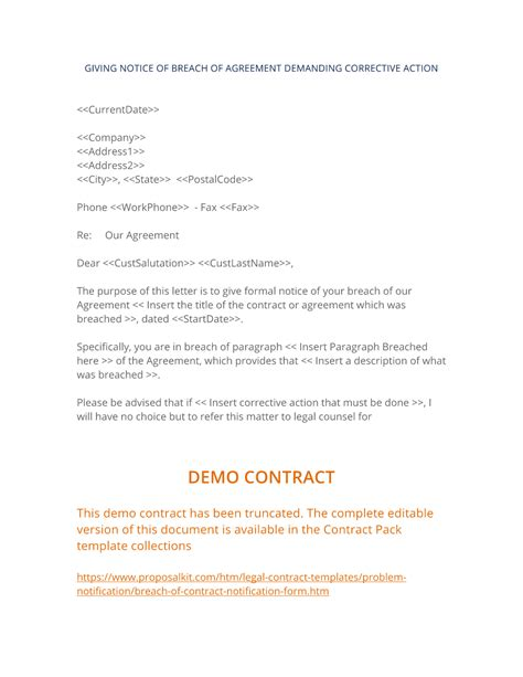 breach  contract notification form  easy steps