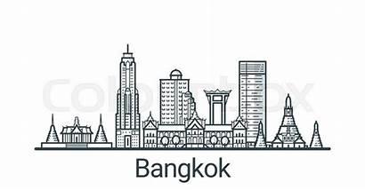 Bangkok Vector Banner Background Outline Linear Customizable