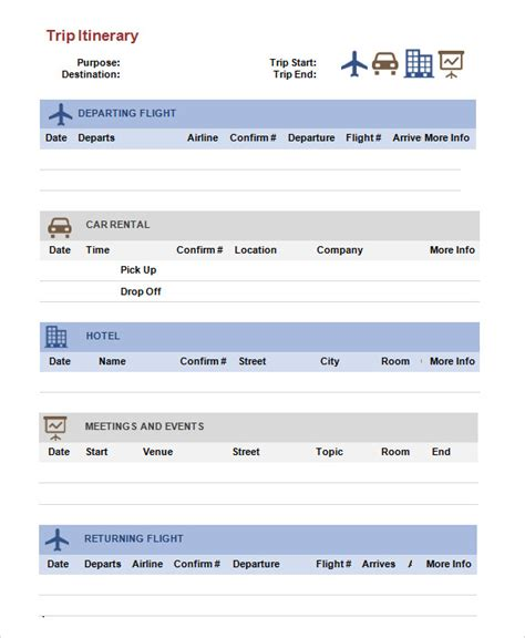sample trip itinerary templates   sample