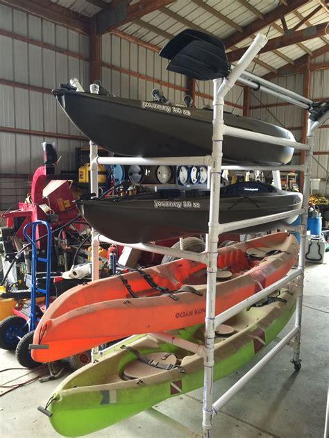 kayak pvc rack storage homemade canoe schedule diy garage build fishing racks boat cart kayaks kayaking atv stand stuff beach