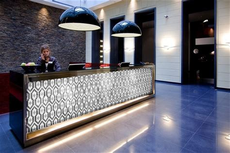 tiled reception desk terrain mosaics see new coming