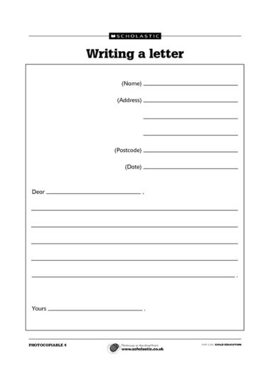 writing  letter lesson plan ks   write  process