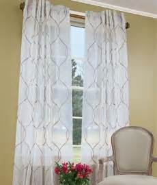 geometric pattern sheer curtains yet relaxed embroidered scroll pattern for a bit