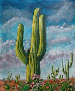 Desert Cactus, Original Acrylic Painting, Desert Art ...